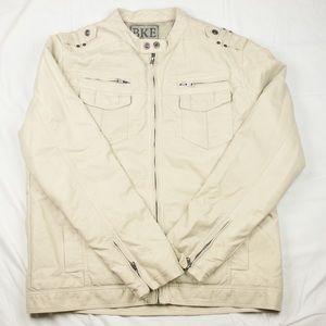 Bke creme leather polyurethane jacket